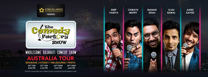 The Comedy Factory is coming to Australia with a wholesome Gujarati Comedy Show.  Get your tickets now.  Brisbane https://www.premiertickets.com.au/event/the-comedy-factory-show-in-brisbane/  Sydney https://www.premiertickets.com.au/event/gujarati-comedy-factory-show-in-sydney/  Melbourne https://www.premiertickets.com.au/event/gujarati-comedy-factory-show-in-melbourne/  Perth https://www.premiertickets.com.au/event/gujarati-comedy-factory-show-in-perth/