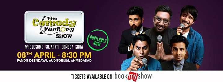 We are coming with a Wholesome Gujarati Comedy Show in Ahmedabad on 8th April. Get your tickets now.  Tickets --->> https://in.bookmyshow.com/ahmedabad/events/the-comedy-factory-show/ET00072542