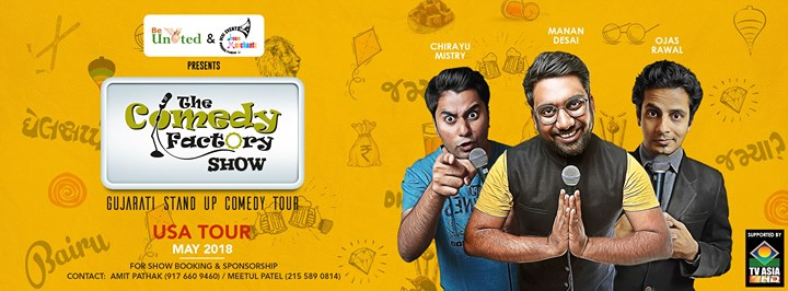 The Comedy Factory is coming to USA with our amazing Gujarati Standup Comedy Show.  27th April: Los Angeles 28th April: Seattle 29th April: San Jose 2nd May: Columbus 3rd May: St. Louis 5th May: Chicago 6th May: Boston 9th May: New Haven 10th May: Baltimore 11th May: Rockville 12th May: Edison & Harleysville 13th May: Flushing & New Haven 15th May: Wilmington 16th May: Lansdale 17th May: Roanoke 18th May: Atlanta 19th May: Orlando 20th May: Tampa  Stay tuned to our event page for all the ticket and venue related details!  https://www.facebook.com/pg/thecomedyfactory/events/