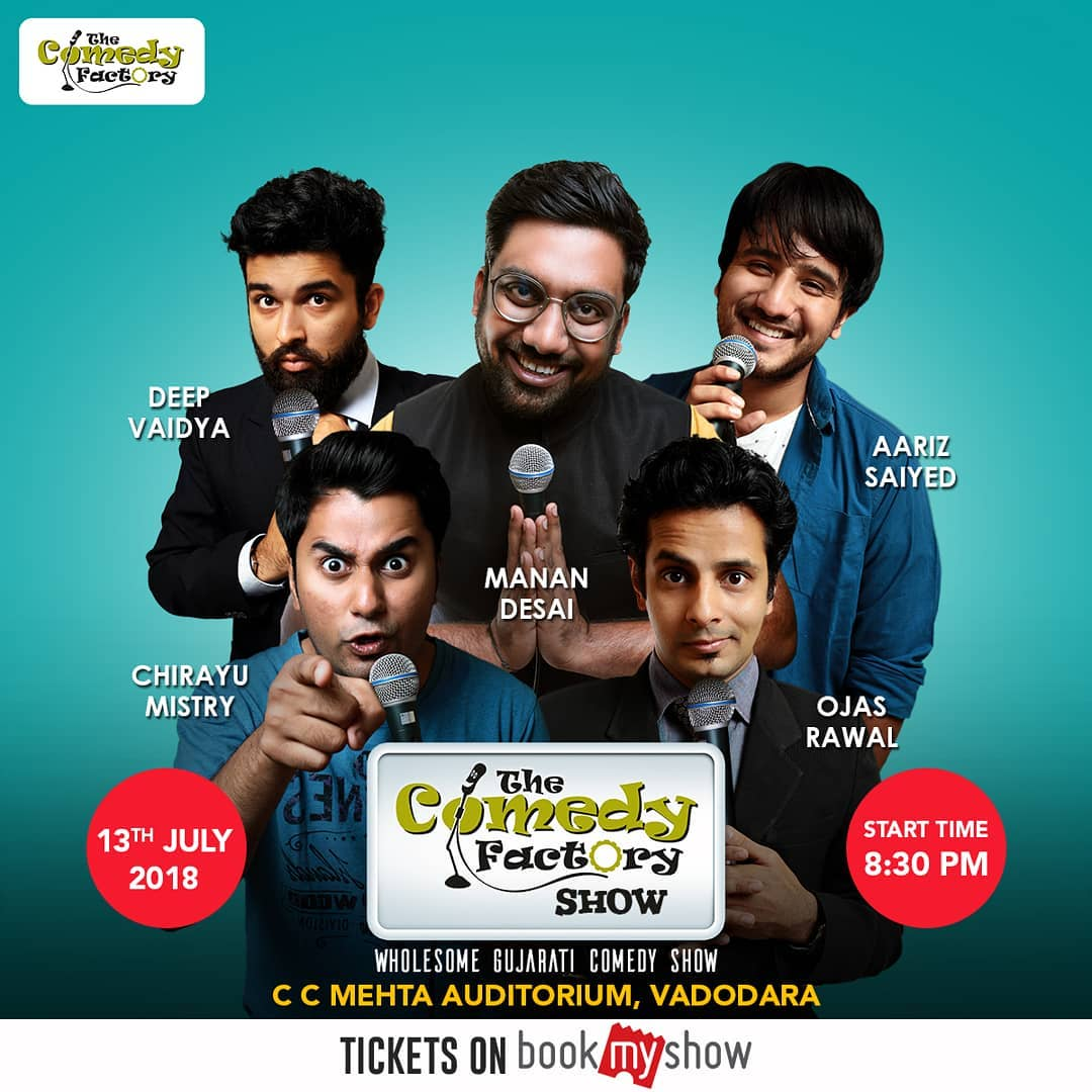 Vadodara, We are performing our wholesome gujarati comedy show on 13th July. Overseas gujaratis loved it, its time for homepitch now. Tickets on BookMyShow. #Vadodara #baroda #StandupComedy #musical #improv #gujarati #gujarat
