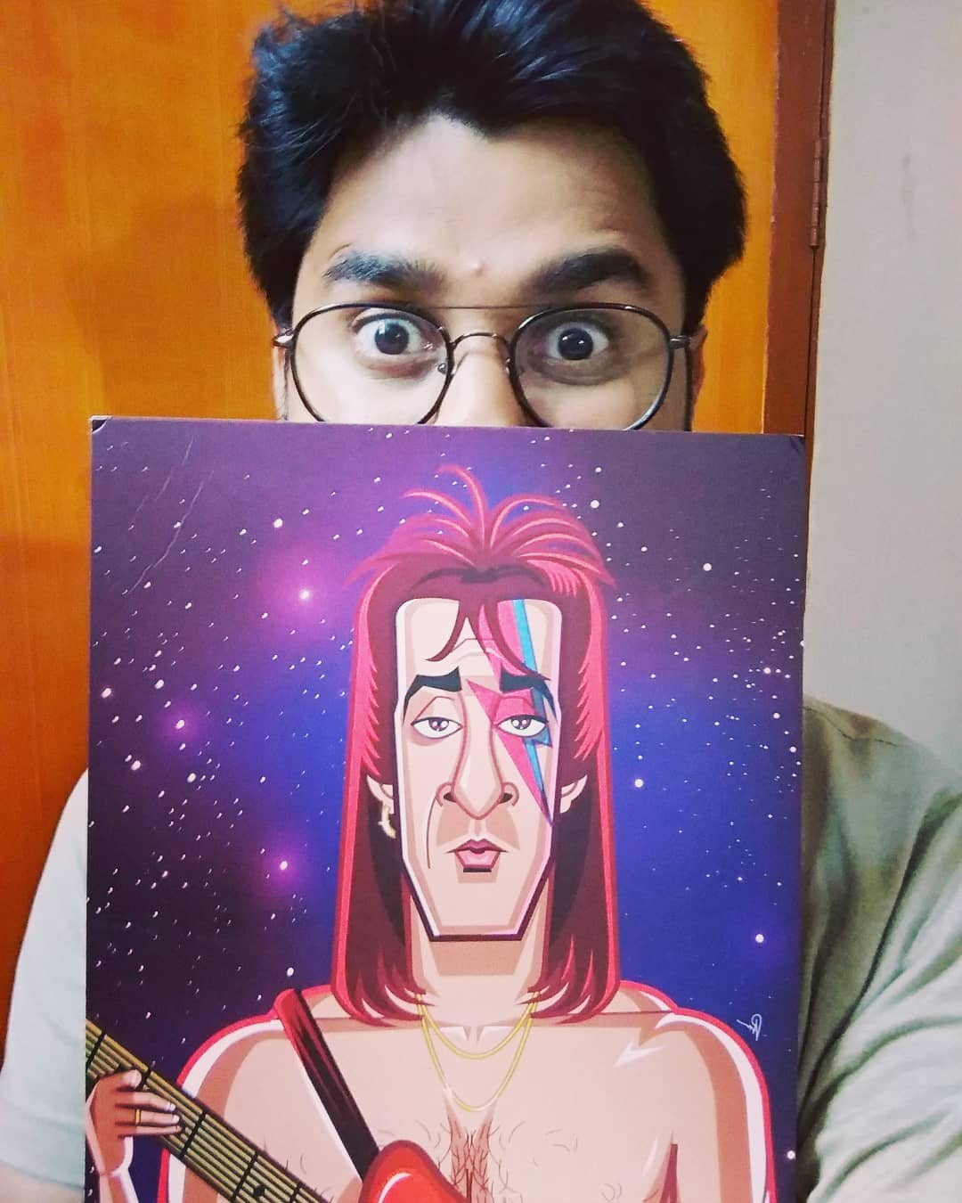Thank you so much @prasadbhatart for making this Sanju Bowie Wall Art. This is supercool. #graphicurry #sanju