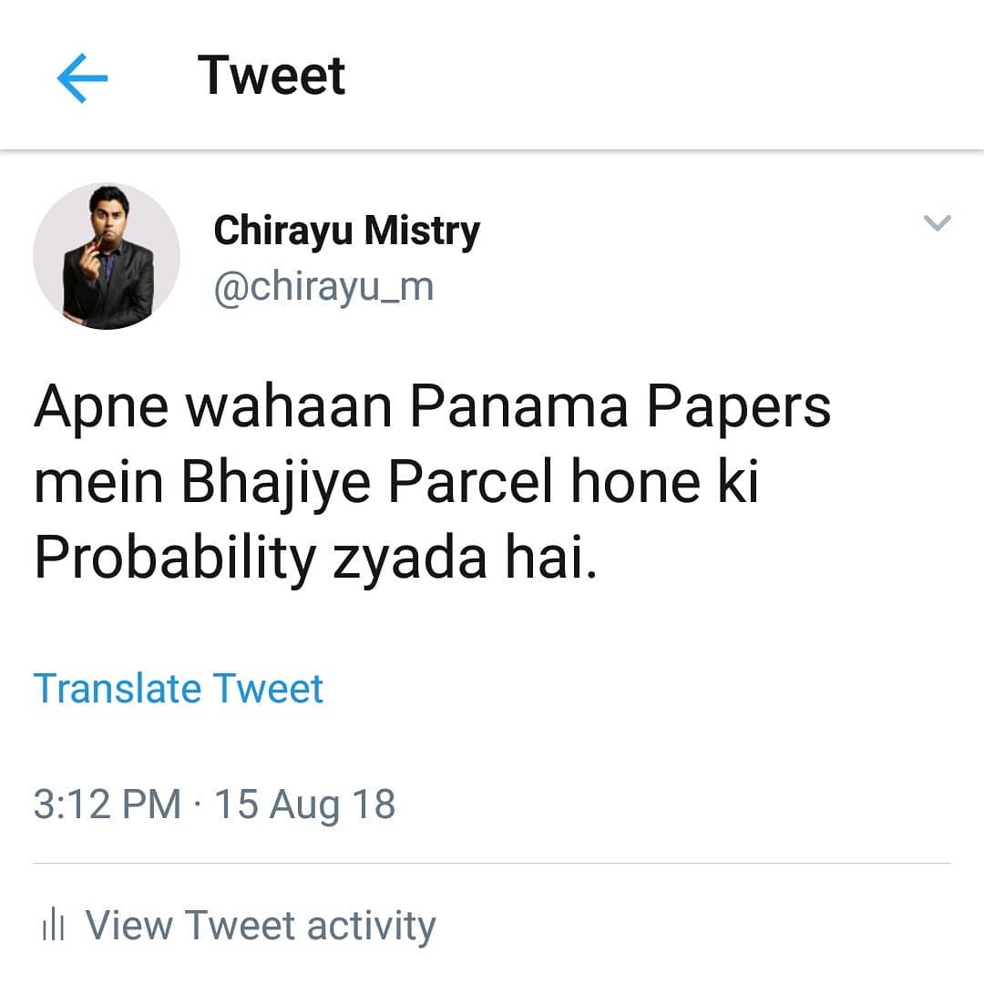Chirayu Mistry, A Joke should be funny and it should be taken as a Joke.