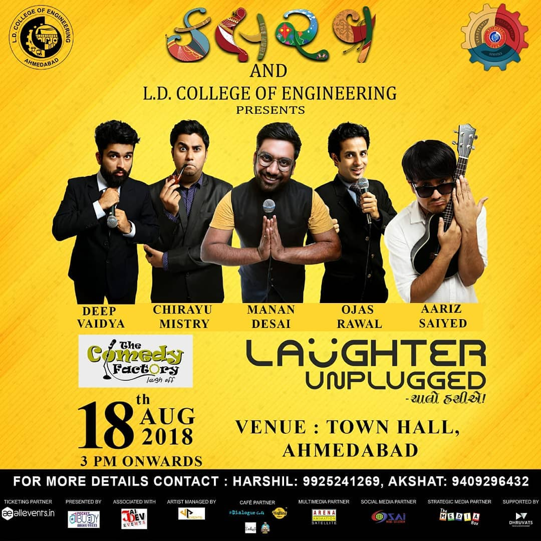 18th Aug - Ahmedabad. Tickets on www.allevents.in  Also its the same show if you have seen our previous wholesome show in Ahmedabad. So do not ask.
