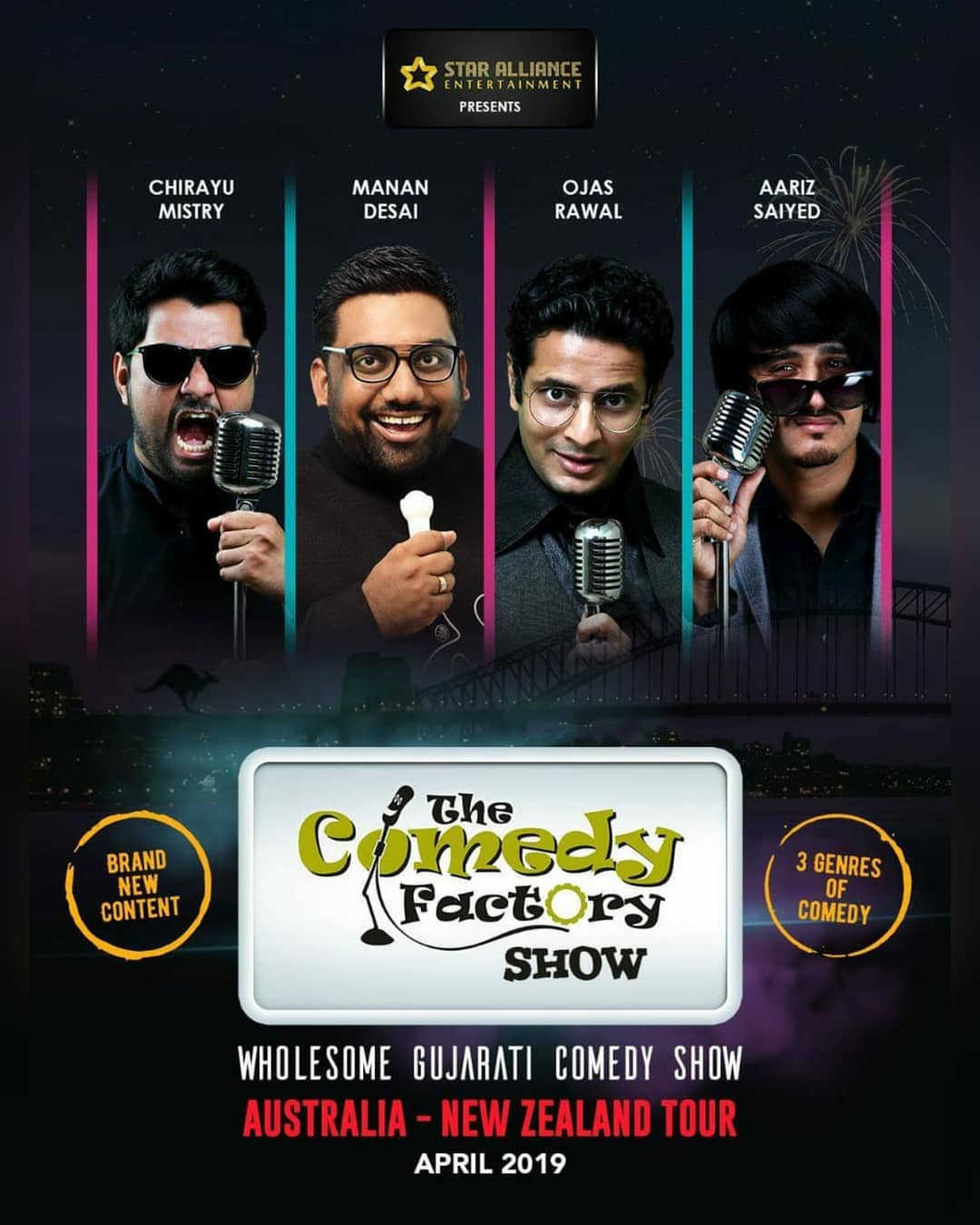 *ANNOUNCEMENT* @thecomedyfactoryindia is coming to Australia, New Zealand and USA with a whole new show. 2019 ko rock karr daalenge.  To sponsor or promote or organize or book our show for you city then contact @bablu21 of Star Alliance Entertainment for Australia and New Zealand.  And contact @amitdpathak from Be United and Meetul Patel from Dream Merchantz for USA.  Aavjo!!! #thecomedyfactory #australia #newzealand #usa #gujarati #comedy