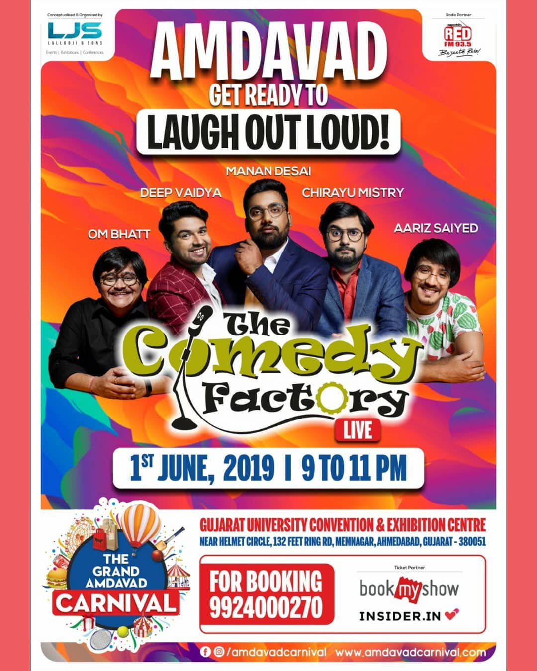 Ahmedabad on 1st June. Tickets on Insider.in and also on Bookmyshow. @amdavadcarnival