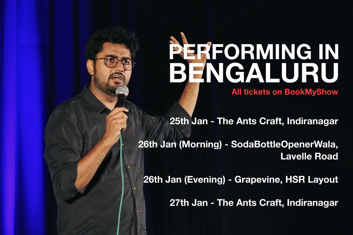 Performing In Bengaluru for next few days. Yeh raha saara schedule. Dost-Parivaar ko leke aana. https://t.co/ERXgxp4trG