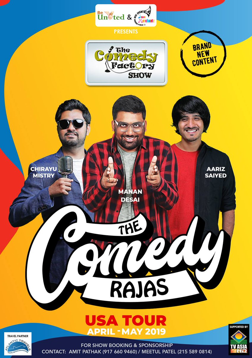 We are starting our 2019 tour from USA. @RawalOjas will also join for few shows. If you want us to perform in your city for aapdu Gujju audience then message or Email @ComedyFactoryIn.  મલિયે ત્યારે USA મા. https://t.co/lXeCaldEpM